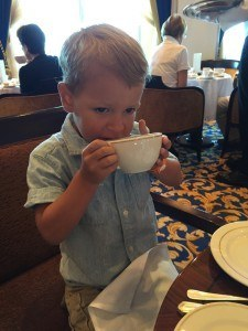 Taking H to Tea on the QM2 was cute and delightful.
