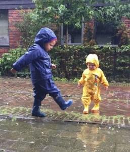 Kids in Rain Suits
