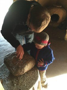 Grinding Wheat in Neolithic Village