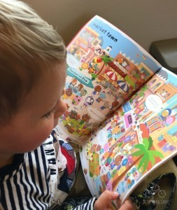 Sticker books are easy to transport and entertain the kids on the train.