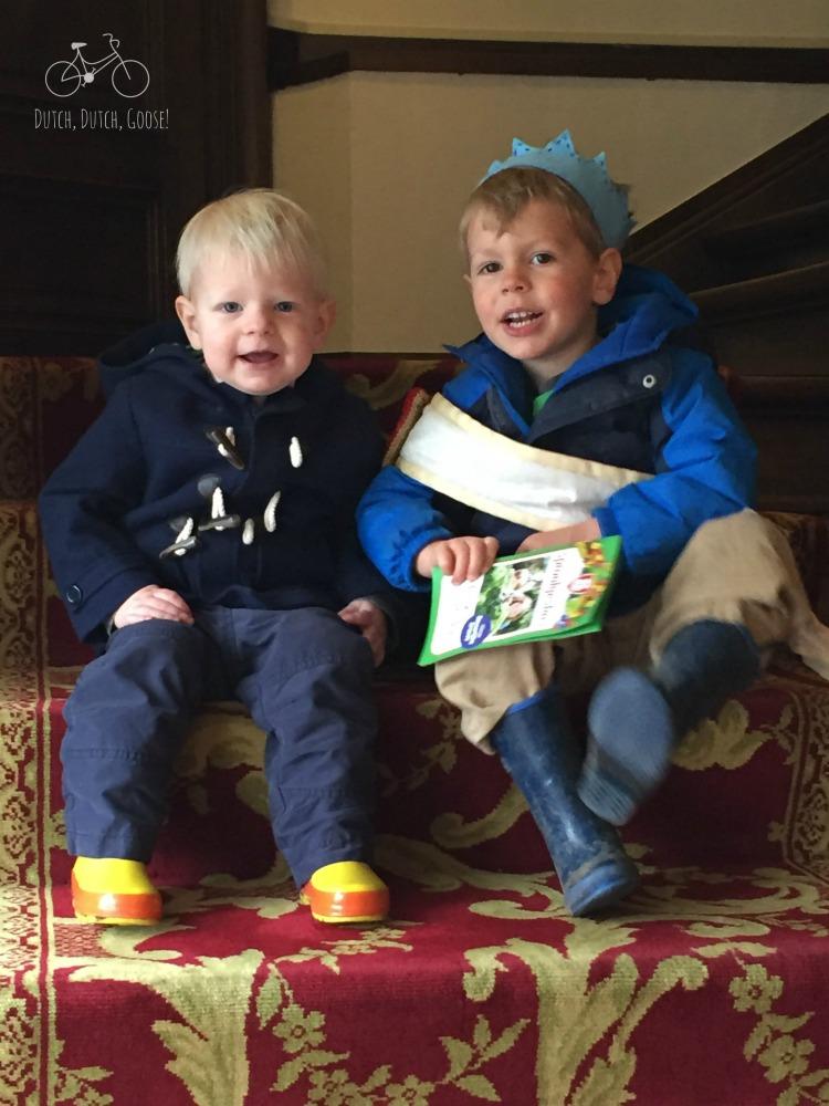 Brothers on Stairs of Kasteel Honesbroek